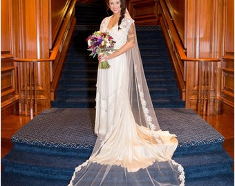 Wedding Veil - Cathedral French Bridal Alencon Lace Bunched Veil - Ivory, Light Ivory, Dark Ivory, White - made to order