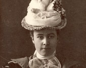 Young Woman with FANTASTIC VICTORIAN Feather HAT with Lace Blouse Photo Circa 1900