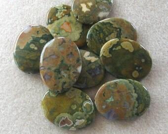 Rhyolite Pendant, Rainforest Jasper, Gemstone Pendant, Jewelry Making Beads, Oval Pendant, Bead Supply, Jewelry Supply, Craft Supply, (1)