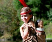 Dress/Papoose set Native American inspired Indian Girl pretend dress up fun set for children size 1 through kids size 12