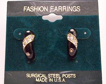Black Crystal Half Hoop Surgical Steel Post Pierced Stud Earrings Gold Tone Vintage Wide Slant Stone Accent Band Dangles