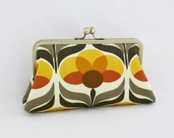 Orange Flower Bridesmaid Clutch / Floral Wedding Clutch / Wedding Gift  - the Christine Style Clutch