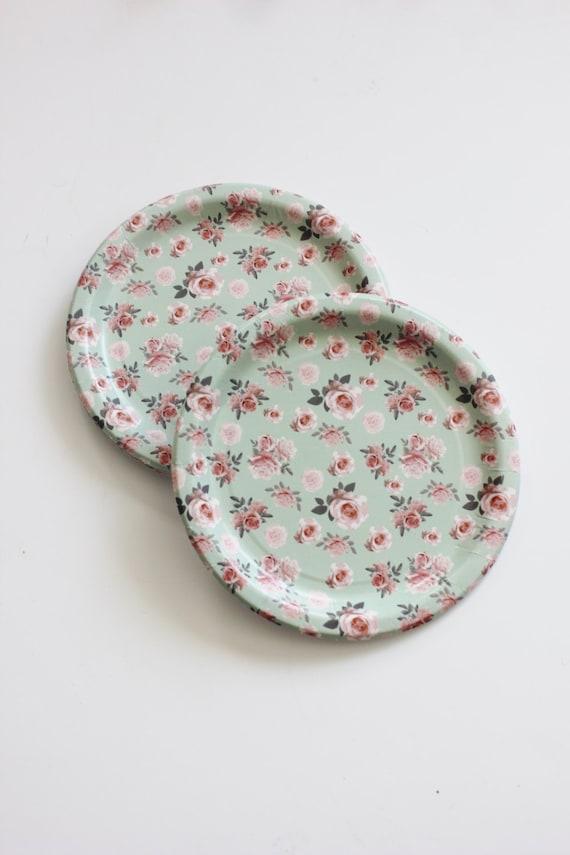 Il_570xn & 8 FLORAL TEA PARTY Paper Plates Parisian Vintage Style Shabby Chic ...