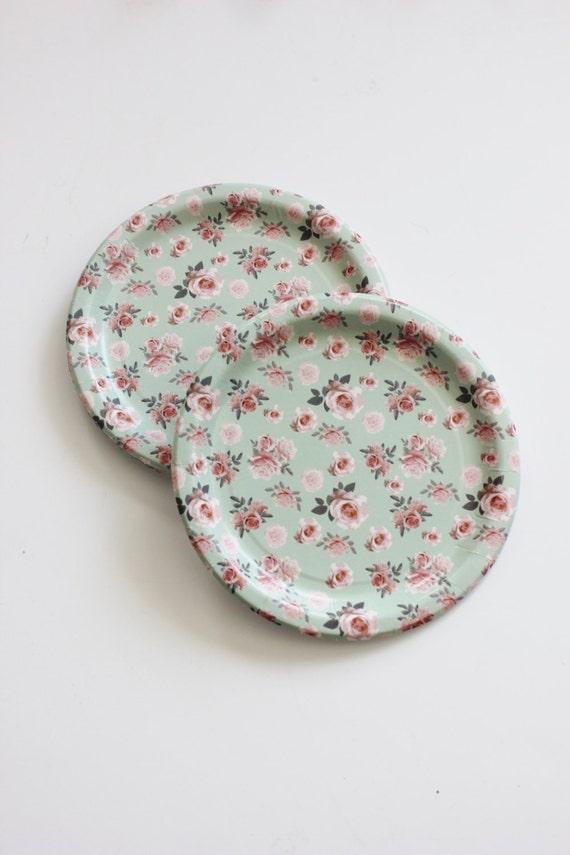8 FLORAL TEA PARTY Paper Plates Parisian Vintage Style Shabby Chic ...