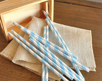 Light Blue Wedding Straws 10CT.  Handcrafted in 2-3 Business Days.  Cinderella Party Decorations.  Party Straws.