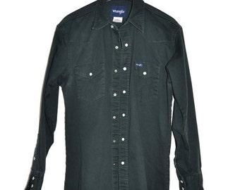 ON SALE Vintage WRANGLER Dark Green Western Shirt Mens M Medium Pearl Snap Jeans Denim Shirt