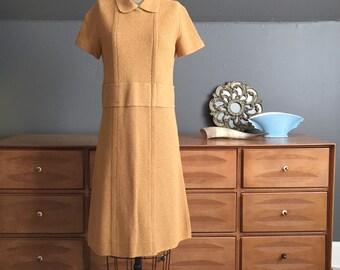 1960's Mustard Knit Sweater Dress Size medium