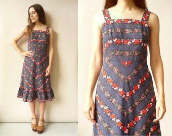 1970's Vintage Polka Dot & Floral Print Folk Day Midi Dress Size XS
