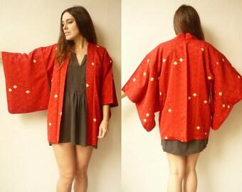 1970's Vintage Bright Red Shibori Pattern Japanese Kimono Duster Jacket Haori