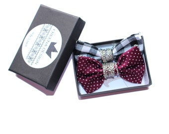 Gingham Black White & Maroon Dot - Gift Set of Two Bow Tie Necklaces, Plaid Cotton Dots Bowtie on a chain, 925 Sterling Silver option