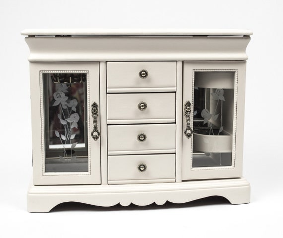 large double jewelry armoire silver interior and hand painted. Black Bedroom Furniture Sets. Home Design Ideas