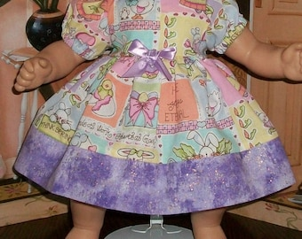 Baby dolly -Think Spring Purple Love Lives Here Dress and Matching Panties-Cotton OOAK