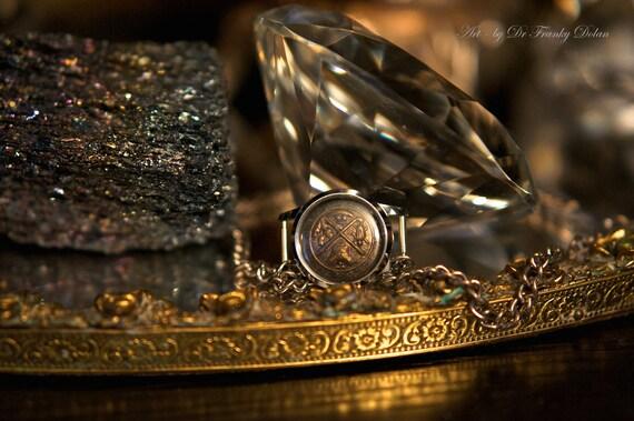 Antique Button Keepsake Necklace by Fae Factory Steampunk Artist Dr Franky Dolan {Handmade steampunk jewelry necklace pocket watch steampunk