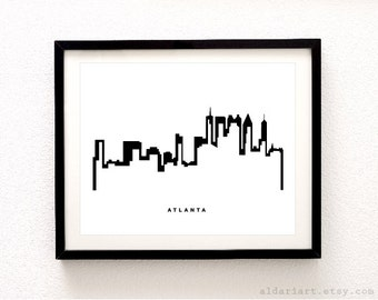 Atlanta Skyline Print - Atlanta Cityscape Print - Atlanta City Wall Art - Modern Decor  - Aldari Art