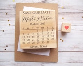 Save the Date Calendar Stamp with Heart - Wedding Custom Stamp
