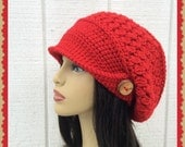 Red Slouch Crochet Ladies Hat with wood button and brim hat