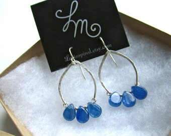 Blue Kyanite Teardrop Hammered Sterling Silver Arch Earrings by LM-inspired