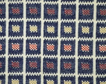 Wool Jacquard Knit, Blue White Squares, Craft or Fashion Fabric, Heavy Weight, Polyester Blend, 51 x 18, B16