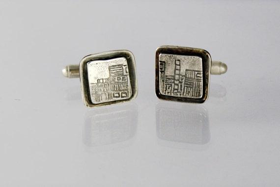 Sterling silver cufflinks, silver cuff links, unique mens jewelry, unique cuff links