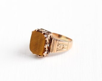 Sale - Antique Victorian 10k Rose Gold Tiger's Eye Ring - Late 1800s Size 5 1/4 Brown Chatoyant Gem Fine Flower Embossed Statement Jewelry