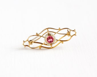 Sale - Antique Art Deco 10k Gold Simulated Pink Sapphire & Seed Pearl Pin - 1920s Pink Glass Open Filigree Elegant Fine Jewelry Brooch