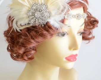 MADE TO ORDER, 1920s Rhinestone headpiece,1930s flapper, champagne and ivory, elastic,Gatsby, large brooch headpiece, Style C041