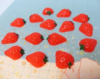 10x Red Strawberry Cabochons Plastic Kitsch 15mm