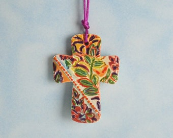 Flowers and Vines Textured Cross Ornament Hand Made and Painted