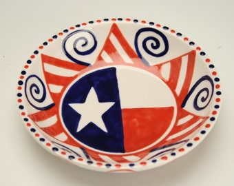 USA Small Food Bowl, Ring Trinket Bowl, America Red White and Blue, July 4 Decoration,  American Dinnerware, Stars and Stripes