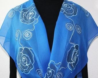 Hand Painted Chiffon Silk Shawl. Azure Blue, Cornflower Blue Handpainted Scarf BLUE ROSES. Large 14x72. Silk Scarves Colorado. Birthday Gift