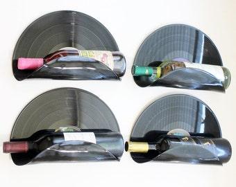 Bachelor Pad Upcycled Vinyl Record Wine Rack Wall Organizer - Set of 4