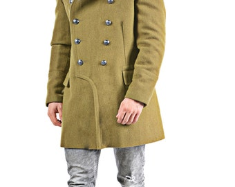 1970's REDESIGNED/ REVAMPED Romanian Army MILITARY Style Vintage Wool Coat / Overcoat by Top Rank Vintage ( Unissued / Never Worn)