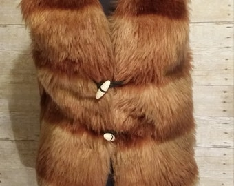 Vintage 60s faux fox fur vest luscious thick and warm by Malden medium foxy festival Coachella hippie vest
