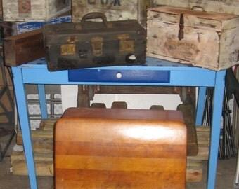 Antique 1881 Cast Iron Buffalo Hardware School Desk with Ink Bottle.Desk Size is # 4