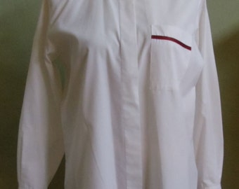 """Vintage Talbots White Long Sleeved Blouse Red and Black Grosgrain Ribbon Accents Bust 42"""" Waist 41"""""""
