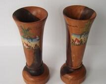 "2pc Vintage hand painted wooden vase 6""Tall/ wood flower vase, Jamaica/ Handmade handpainted Jamaican wood flower vase / Vintage flower vase"