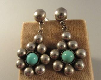 1940s Mexican Silver Dangle Earrings