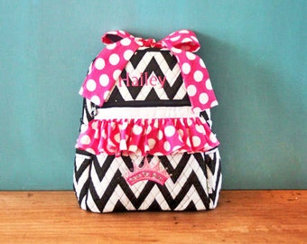 Quilted Backpack with princess crown applique, your choice of fabric