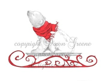 Polar Bear Cub  on a sled Christmas Holiday Card