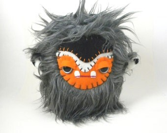 Cute Plush Monster Kawaii Stuffed Animal Toy Monster Plushie Grey Orange Black Snuggly Faux Fur Toy 7 inches tall medium size
