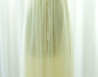 Miss Elaine Nightgown Yellow Chiffon Maxi Length NOS