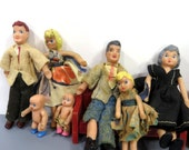 RESERVED for PATTY - Vintage Flagg Flexible Doll Family, 7 Piece Set, Mom, Dad, Grandma, Grandpa, Big Sis, Boy & Girl Babies