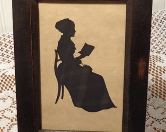 Vintage Framed Silhouette Picture - Lady Reading a Book Silhouette  -  16-054