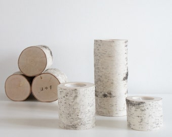 white birch wooden candle holders set of 3 - birch candle holders, log candle holders, tree candle holders, romantic gift