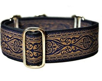 Canterbury Jacquard in Navy Blue and Beige (1.5 Inch), Dog Collar, Greyhound Collar, Custom Dog Collars, Greyhound Martingale