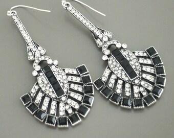 Art Deco Earrings - Statement Earrings - Crystal Earrings - Black Earrings - Antique Silver Earrings - Bridal Earrings - Bridesmaid Earrings