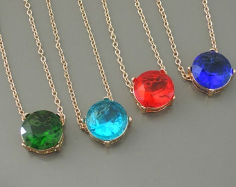 Gold Necklace - Layered Necklace - Crystal Necklace - Emerald Green - Aquamarine - Ruby Red - Sapphire Blue - Handmade Jewelry