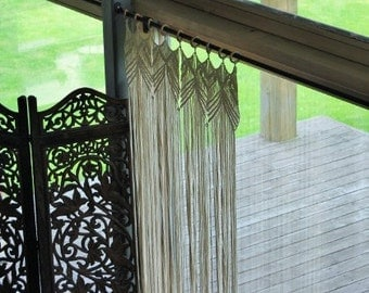Macrame curtain, room divider, Bohemian macrame wall hanging - Handmade - Wall Art - Boho Macrame home decor - Ivory - White, Easter gift