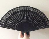 Regency/Victorian Style Fan. Black Wooden Fretwork. Mourning. Goth
