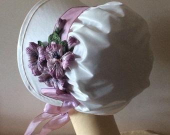 Regency Bonnet. Jane Austen. Ivory SILK. Dusky Pink Trim